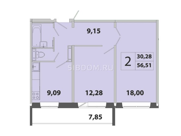 Планировка 2-комн 56,51 м²