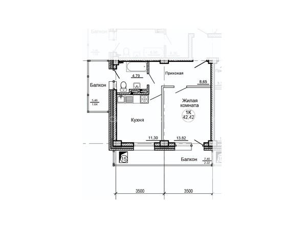 Планировки Жилой комплекс ГЛОБУС, дом 8 - Планировка однокомнатной квартиры 42,42 кв.м