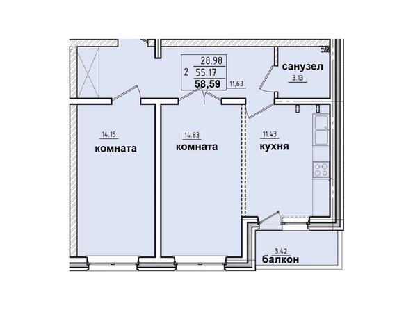 Планировки Жилой комплекс КОРИЦА, дом 2 - 2-комнатная квартира 58,59 кв.м