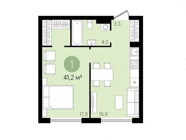 1-комнатная 41,2 кв.м