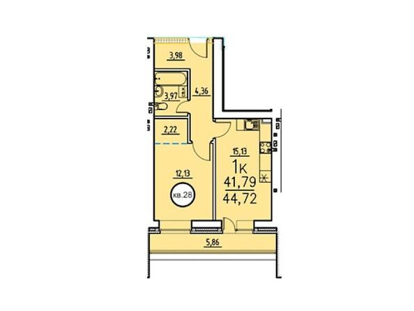 1-комнатная 44.72 кв.м