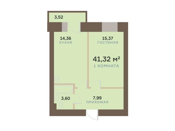 Планировка 1-комн 41,32 м²