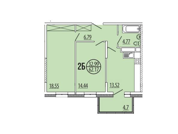 Планировка 2-комн 62,17, 62,77 м²
