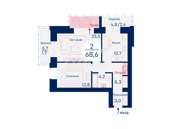 Планировки Жилой комплекс SCANDIS (Скандис), дом 6 - Планировка двухкомнатной квартиры 68,6 кв.м