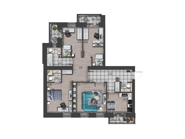 Планировки Жилой комплекс ПРЕОБРАЖЕНСКИЙ, дом 9 - 4-комнатная 108,96 кв.м