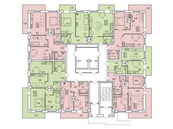 Планировка 1-3 этажи