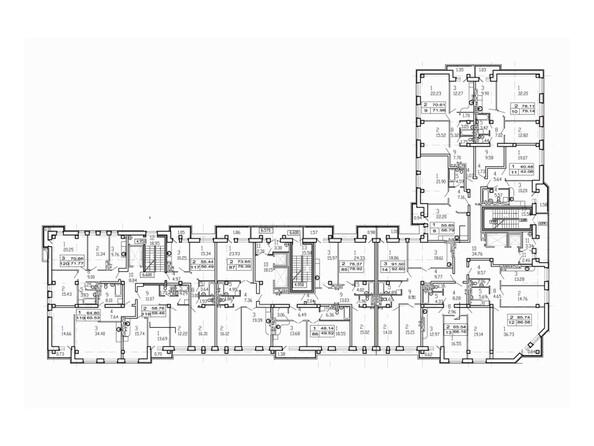 Планировки Жилой комплекс УДАЧНЫЙ - Планировка типового этажа