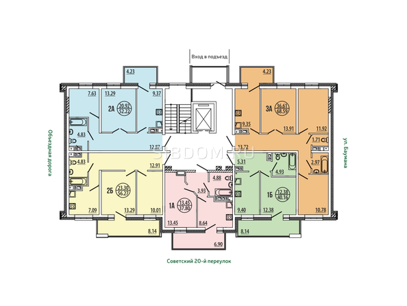 Блок-секция 4-8. Планировка типового этажа