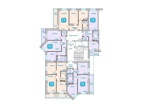 Планировки Жилой комплекс Сосновоборск, 7 мкр, 1 этап - Подъезд 1. Планировка типового этажа
