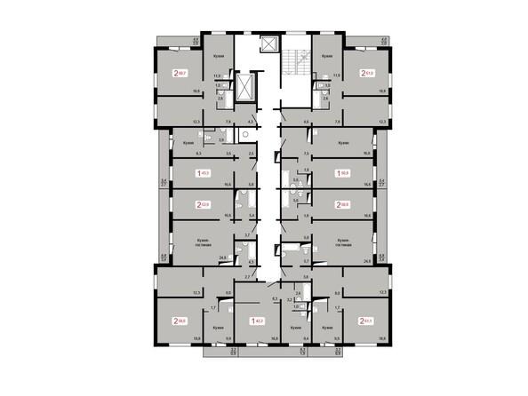 Планировки КУРЧАТОВА, дом 9, стр 1 - Планировка 10-16 этажей
