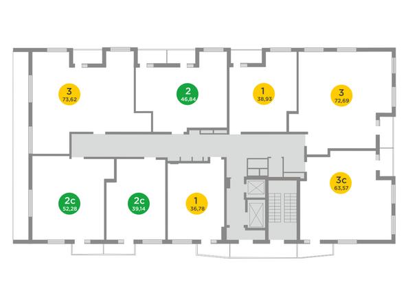 Планировки Жилой комплекс ЯСНЫЙ БЕРЕГ, дом 10, б/с 1-3  - Блок-секция 1. Планировка типового этажа