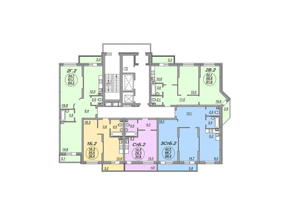 Планировки Жилой комплекс МАТРЕШКИН ДВОР 105, дом 2, 1 этап - Блок-секция 1. Планировка 2-4 этажей