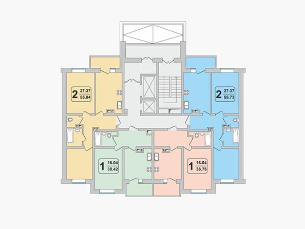Блок-секция 2-1. Планировка 3-9 этажей