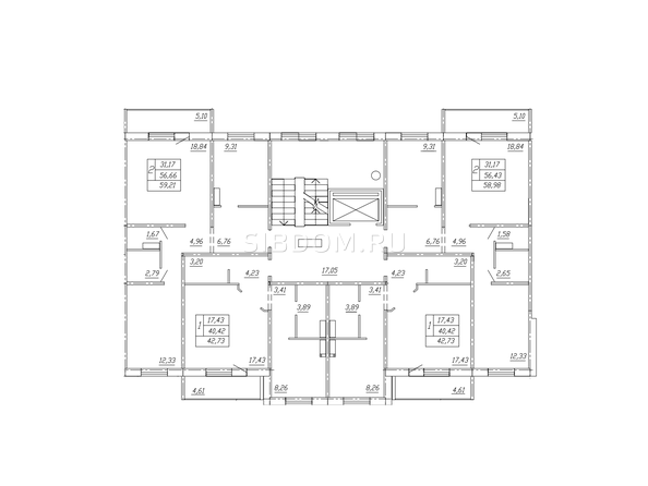 Планировки ТАРСКАЯ КРЕПОСТЬ-2, дом 10, оч 2 - Блок-секция 1. Планировка типового этажа