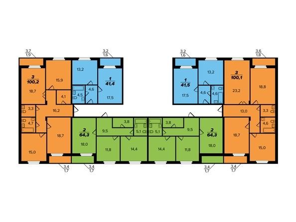 Типовая планировка этажа Секция 1