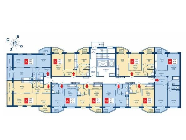 Планировки Жилой комплекс АКВАРЕЛЬНЫЙ 2.0, дом 2 - Подъезд 1. Планировка типового этажа