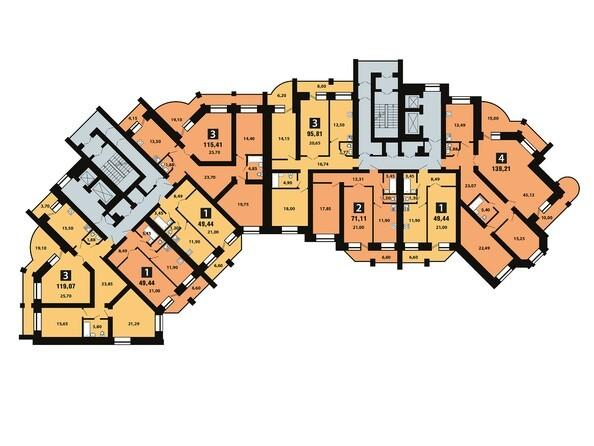 Планировки Копылова, 5 дом, 1 оч - Планировка 10 этажа