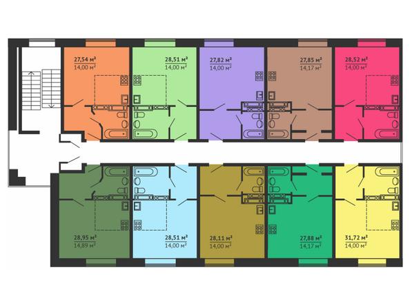 Планировки Жилой комплекс НА МАЛИНОВСКОГО, дом 19 - Планировка типового этажа