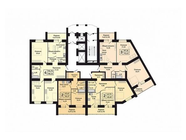 Планировки Жилой комплекс КРАСНООБСКИЙ, дом 230 - Подъезд 3. Планировка 2-6 этажей