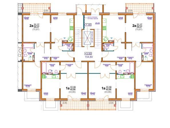 Блок-секция 4 (подъезд 2). Планировка 1 этажа