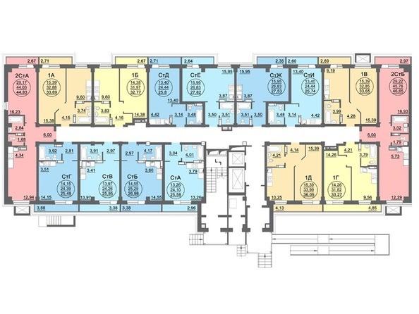 Планировки МАТРЕШКИН ДВОР 95/4, дом 1, 1,2 б/с - Блок-секция 1. Планировка 1 этажа