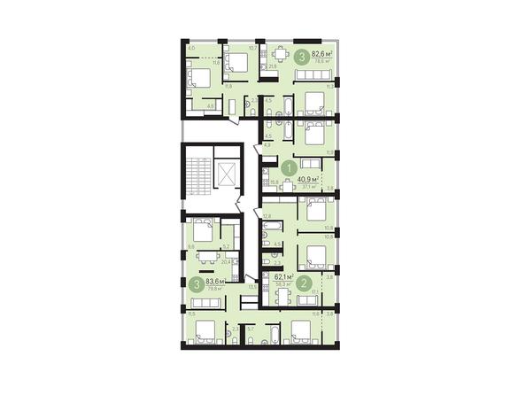 Планировки Жилой комплекс ЕВРОПЕЙСКИЙ БЕРЕГ, дом 23 - Подъезд 3. Планировка 2 этаж