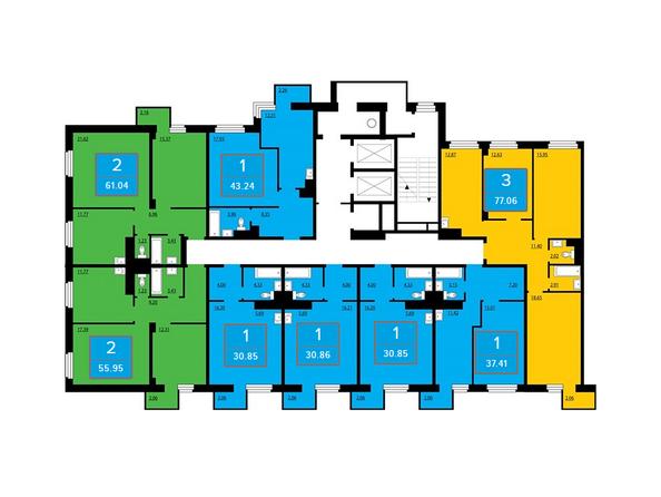 Подъезд 1. Планировки четных этажей