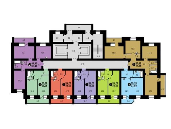 Планировки Жилой комплекс ФЕСТИВАЛЬ ж/к, 6 дом, 4 этап, 1 оч - Подъезд 1. Планировка 2-7 этажей