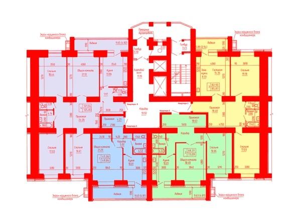 Планировки Жилой комплекс ЛАЗУРНЫЙ-2, дом 3 - Планировка 8-16 этажей, 4 б/с