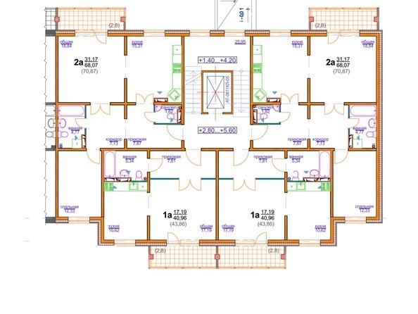 Блок-секция 4 (подъезд 2). Планировка 2-3 этажа