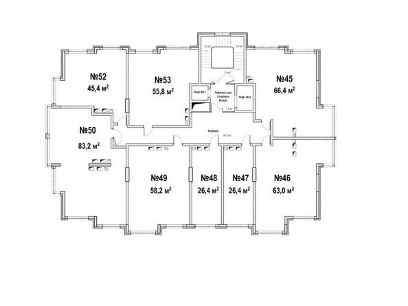 Планировки ЮЖНЫЙ, дом «Янтарный» - Планировка 6 этажа