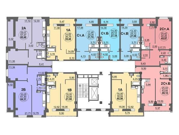 Планировки Жилой комплекс МАТРЁШКИ, дом 5 - Планировка 4-14 этажей, 1 б/с