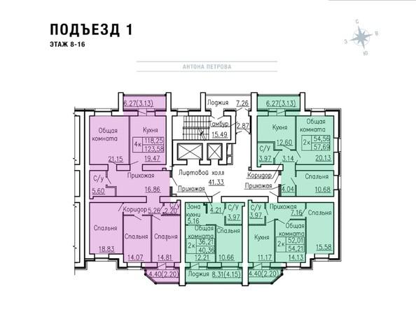 Планировки Жилой комплекс Антона Петрова, 221д - Планировка этажей 8-16, 1 б/с