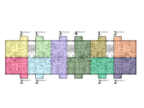 Планировки Микрорайон ЧЕРЕДОВЫЙ, дом 1 - Планировка типового этажа