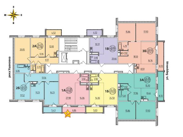 2 Блок-секция. Планировка типового этажа