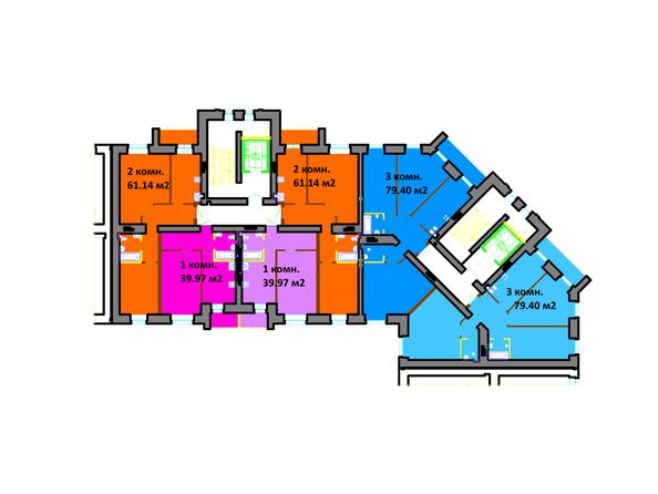 Планировки Жилой комплекс СЕРЕБРЯНЫЙ БЕРЕГ, дом 12 - Подъезд 3-4. Планировка типового этажа