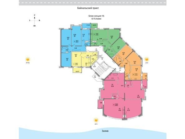 16 блок-секция. Планировка 6-9 этажей
