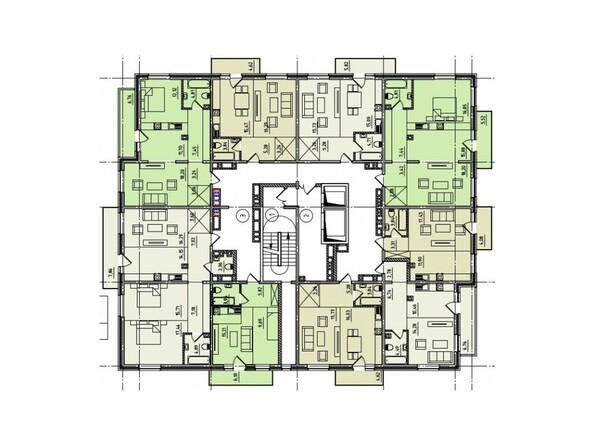 Планировки Жилой комплекс ЧЕТЫРЕ СОЛНЦА, 1 оч, б/с 1 - Планировка 2 этажа