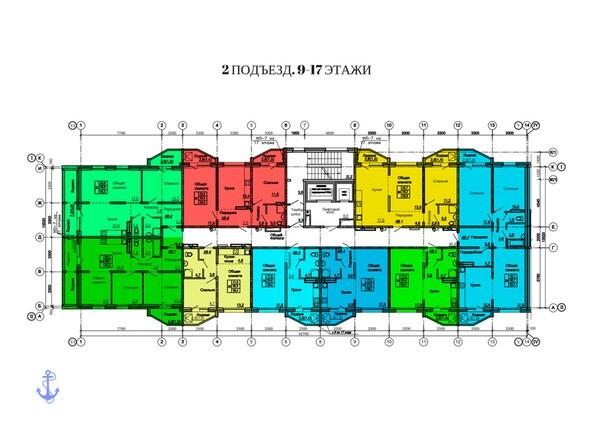 Планировки Жилой комплекс АДМИРАЛЪ, дом 9 - Планировка 9-17 этажей, 2 б/с