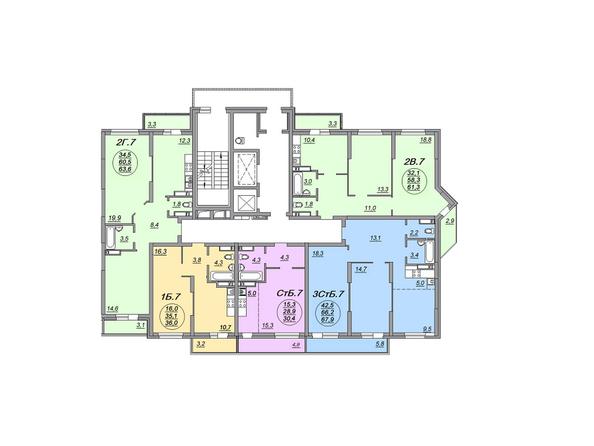Планировки Жилой комплекс МАТРЕШКИН ДВОР 105, дом 2, 1 этап - Блок-секция 1. Планировка 17-18 этажей
