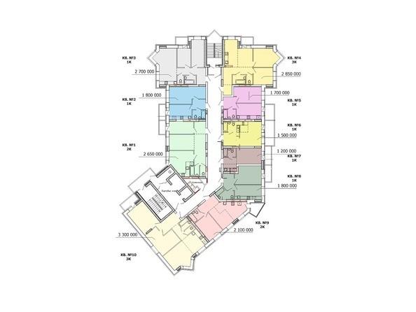 Планировки Жилой комплекс ПОЛЯРНАЯ ЗВЕЗДА - Планировка 1 этажа