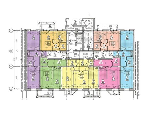 Планировки Жилой комплекс ТОПКИНСКИЕ ГОРКИ, 2 оч - Блок-секция 1-2. Планировка типового этажа