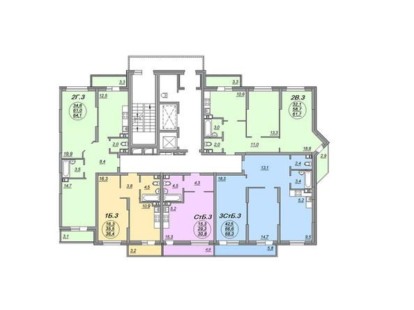 Планировки Жилой комплекс МАТРЕШКИН ДВОР 105, дом 2, 1 этап - Блок-секция 1. Планировка 5-7 этажей