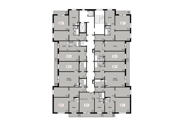 Планировки КУРЧАТОВА, дом 9, стр 1 - Планировка 6-9 этажей