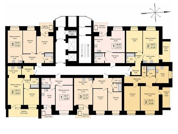Блок-секция 1. Планировка 9-15 этажей