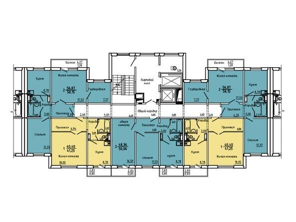 Планировки Жилой комплекс Нанжуль-Солнечный мкр, дом 5 - Подъезд 4. Планировка 2-14 этажей