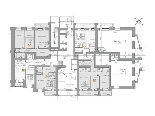 Планировки ДВЕ ЭПОХИ, корпус 1 - Планировка 1 этажа, 1 б/с