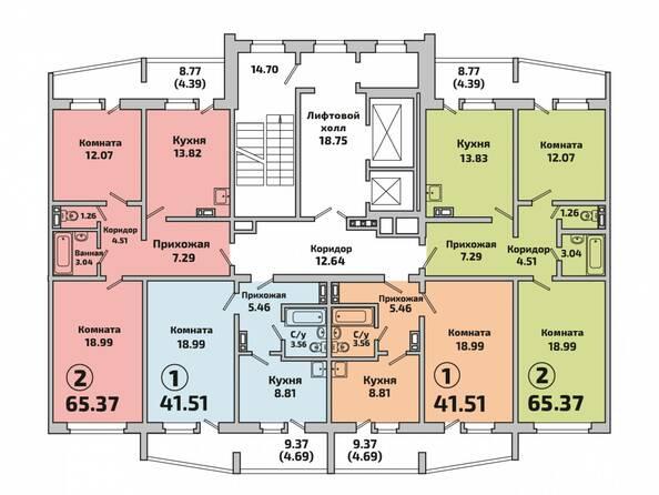Планировки Жилой комплекс РОДНИКИ, дом 603 - Планировка 2 подъезда дом 603