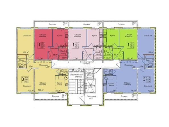 Планировки ВОСТОЧНЫЙ, 85/1а - Планировка типового этажа, 3 б/с