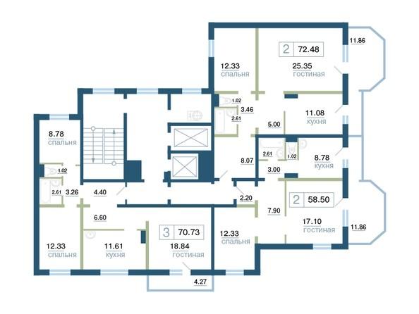 Планировка типового этажа секция 1